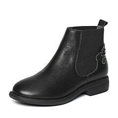 Bata/拔佳冬季专柜同款黑色时尚简约皮带扣牛皮女短靴837-2DD6