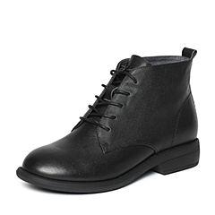 Bata/拔佳冬季专柜同款黑色时尚简约方跟牛皮女短靴837-5DD6