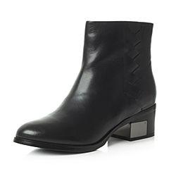 Bata/拔佳冬季专柜同款黑色圆头粗跟牛皮女短靴AW542DD6