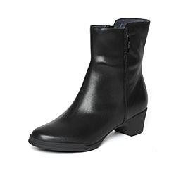 Bata/拔佳冬季专柜同款黑色简约粗跟小牛皮女中靴(软)AV460DZ6
