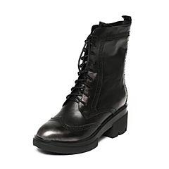 Bata/拔佳冬季专柜同款银灰雕花圆头粗高跟擦色牛皮女中靴706-2DZ6