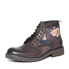 Bata/拔佳冬季专柜同款时尚拼色帅气牛皮男低靴A5S45DD6