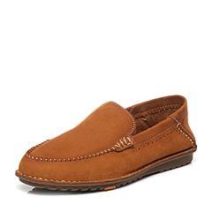 Bata/拔佳夏季专柜同款棕色舒适平跟牛皮男乐福鞋872-3BM6