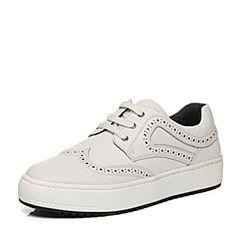 Bata/拔佳秋季专柜同款白色时尚镂花平跟牛皮男休闲单鞋(软)82P20CM6