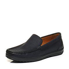 Bata/拔佳秋专柜同款深蓝舒适套脚平跟牛皮乐福男单鞋86-16CM6