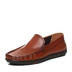 Bata/拔佳秋季专柜同款棕色舒适平跟套脚牛皮男乐福鞋(软)A9N44CM6
