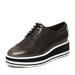 Bata/拔佳专柜同款卡其时尚雕花厚底牛皮女单鞋645-1CM6