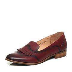 Bata/拔佳秋季专柜同款酒红时尚雕花流苏牛皮女单鞋AQ233CM6