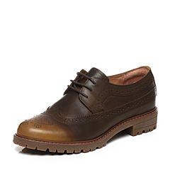 Bata/拔佳专柜同款深棕英伦风雕花牛皮女单鞋AWG59CM6