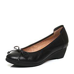 Bata/拔佳秋季专柜同款黑色蝴蝶结坡跟小牛皮女浅口鞋(软)AIE39CQ6