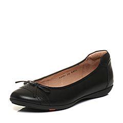 Bata/拔佳秋专柜同款黑色蝴蝶结舒适平跟浅口女单鞋AM801CQ6