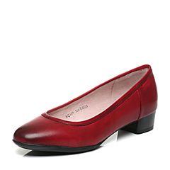 Bata/拔佳专柜同款大红时尚优雅粗跟牛皮女单鞋(软)AQ409CQ6