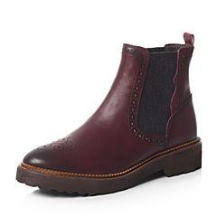 Bata/拔佳秋专柜同款酒红时尚雕花圆头切尔西女短靴AJ452CD6