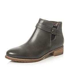 Bata/拔佳秋专柜同款浅灰皮带扣方跟小牛皮女短靴AJ453CD6