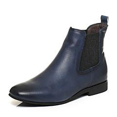 Bata/拔佳秋专柜同款兰灰简约方头低跟牛皮女短靴AU740CD6