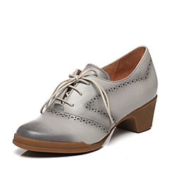 Bata/拔佳春季专柜同款米灰色英伦风镂花圆头方跟羊皮女单鞋AV420AM7