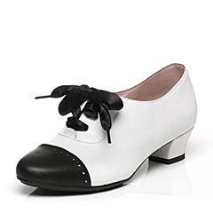 Bata/拔佳春季专柜同款丝带系带时尚拼接圆头方跟牛皮女单鞋AN123AM7