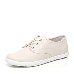 Bata/拔佳春季专柜同款白色圆头平跟系带羊皮休闲女单鞋AV222AM7
