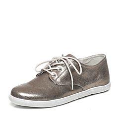 Bata/拔佳春季专柜同款灰金色圆头平跟系带羊皮休闲女单鞋AV222AM7