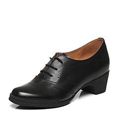 Bata/拔佳春季专柜同款黑色英伦风镂花圆头方跟小牛皮女单鞋AV420AM7