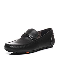 Bata/拔佳春季专柜同款黑色圆头平跟套脚小牛皮乐福鞋男单鞋A8S22AM7