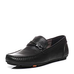 BATA/拔佳2017春季新款专柜同款黑色油皮小牛皮男鞋(超软)A8S22AM7
