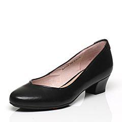 Bata/拔佳春季专柜同款黑色圆头粗跟套脚牛皮浅口女单鞋AN108AQ7