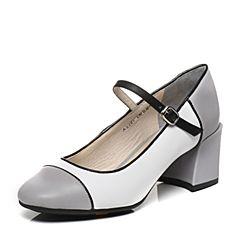 Bata/拔佳春季专柜同款时尚拼色圆头粗跟玛丽珍女单鞋AX206AQ7
