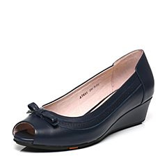 Bata/拔佳春季专柜同款深兰色蝴蝶结坡跟牛皮鱼嘴女凉鞋AIE01AU7