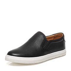 Bata/拔佳春季黑色圆头平跟套脚牛皮乐福鞋男休闲鞋M2925AM7