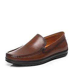 BATA/拔佳2017春季新款棕色简约平跟牛皮男正装鞋M8863AM7
