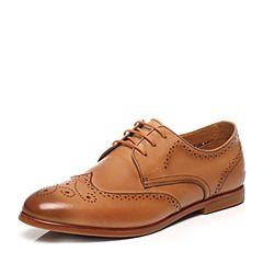 Bata/拔佳春季棕色雕花圆头方跟系带牛皮男单鞋K5921AM7