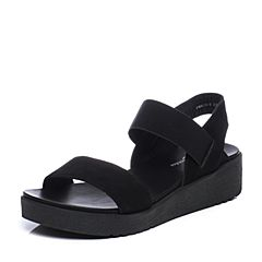 Bata/拔佳夏季专柜同款黑色舒适休闲坡跟磨砂牛皮女凉鞋813-FBL7
