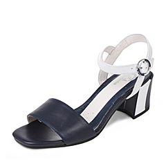 BATA/拔佳2017夏季专柜同款拼接粗跟牛皮女凉鞋(超软)AX209BL7