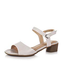 Bata/拔佳夏季专柜同款米色优雅粗跟绵羊皮女凉鞋AX601BL7