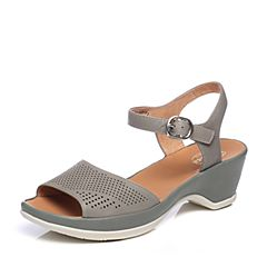 Bata/拔佳夏季专柜同款灰绿色时尚镂空粗跟牛女凉鞋AY401BL7