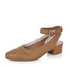 Bata/拔佳夏季专柜同款棕黄优雅复古编织方跟女凉鞋AZ603BH7