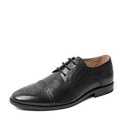BATA/拔佳2017夏季专柜同款黑色时尚镂花英伦风男单鞋85M01BM7