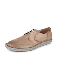 Bata/拔佳2017夏季专柜同款灰色舒适平跟牛皮男休闲鞋(软)85N02BM7