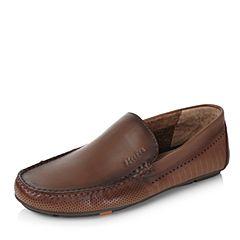 Bata/拔佳2017夏季专柜同款深棕舒适平跟牛皮男休闲乐福鞋(软)A8S10BM7