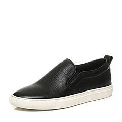 Bata/拔佳2017秋季专柜同款黑色时尚简约牛皮男休闲鞋2-X74CM7
