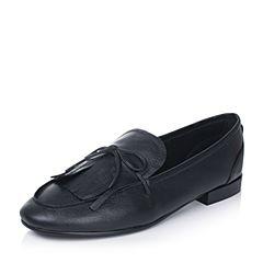 Bata/拔佳2017秋季专柜同款黑色流苏蝴蝶结摔纹牛皮女单鞋626-5CM7