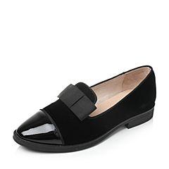 Bata/拔佳秋季专柜同款黑色蝴蝶结方跟牛皮/丝绒布女单鞋50-10CM7
