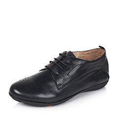 Bata/拔佳2017秋季专柜同款黑色舒适平跟羊皮女休闲鞋(软)AM829CM7
