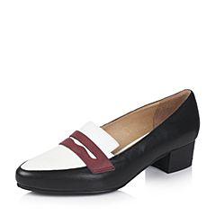 Bata/拔佳2017秋季专柜同款三色拼接方跟胎牛皮女单鞋AZ620CM7