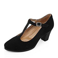 Bata/拔佳2017秋季专柜同款黑色羊绒皮复古女单鞋(软)ABA01CQ7
