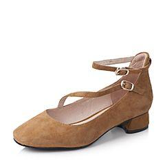 Bata/拔佳2017秋季驼色复古方头舒适方跟羊绒皮女玛丽珍鞋633-1CQ7