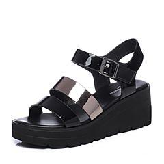 Bata/拔佳夏季专柜同款黑色舒适坡跟漆皮牛皮女凉鞋088-5BL7