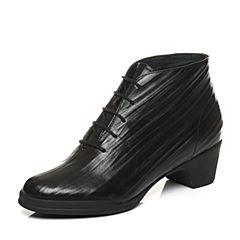 Bata/拔佳2017冬专柜同款黑色圆头粗跟牛皮马丁靴女短靴AV449DD7