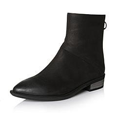 Bata/拔佳2017冬专柜同款黑色优雅尖头粗跟牛皮女短靴ABV42DD7